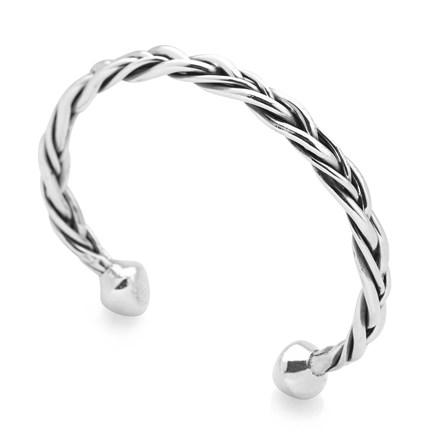 Silver Plait Bangle