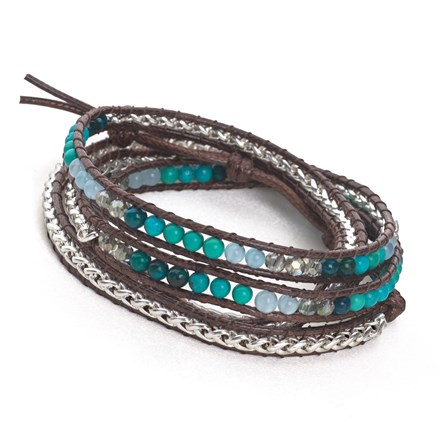 Woven Wrap Bracelet (Turquoise/Silver)