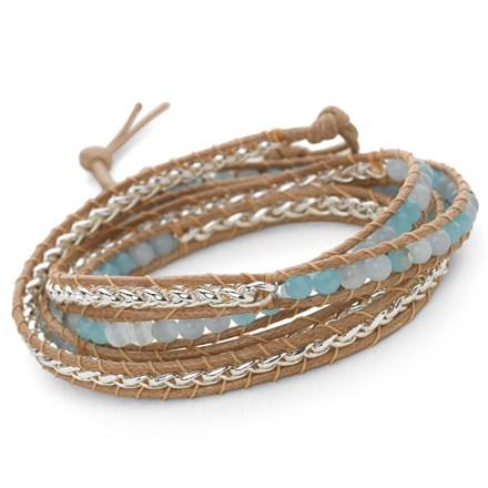 Woven Wrap Bracelet (Aqua/Silver)