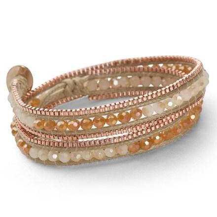 Rose Gold Wrap Bracelet (Peach/Cream)