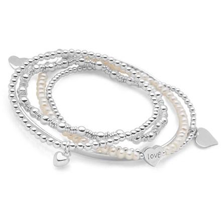Love Hearts Bracelet Stack (White Pearl)
