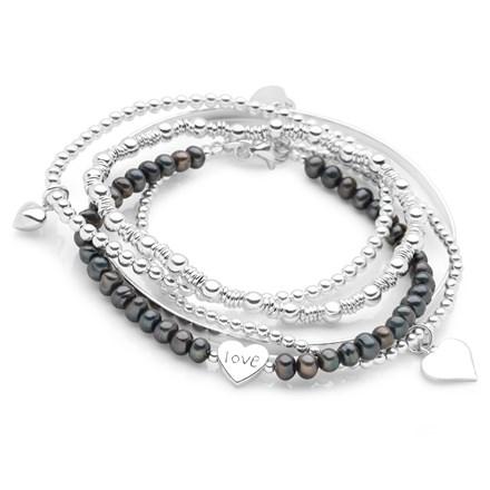 Love Heart Bracelet Stack (Black Pearl)