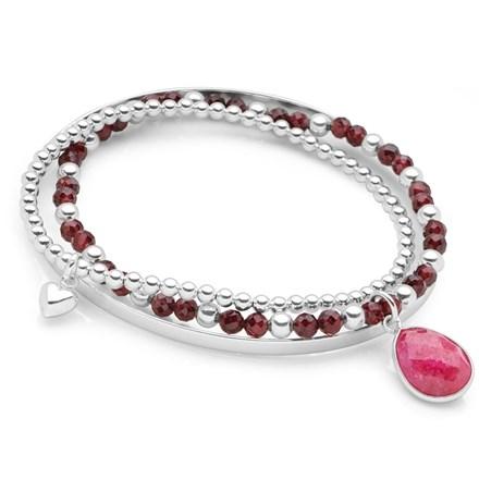 Ruby Tear Bracelet Stack