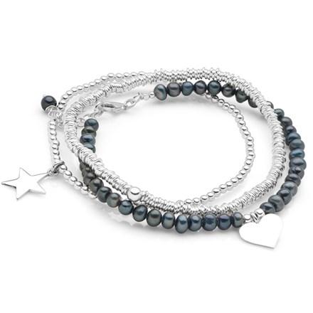 Black Pearl Charm Bracelet Stack