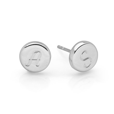 Personalised Silver Disc Studs