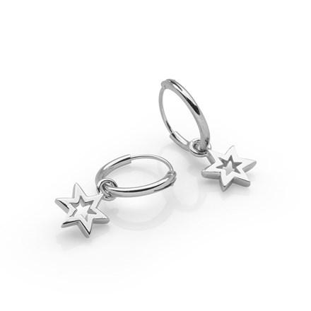 Star Charm Hoops
