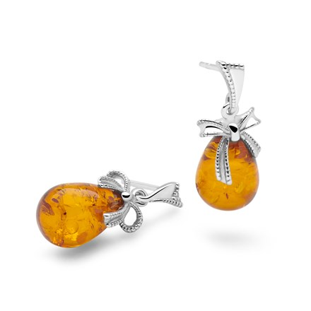 Amber Bow Earrings