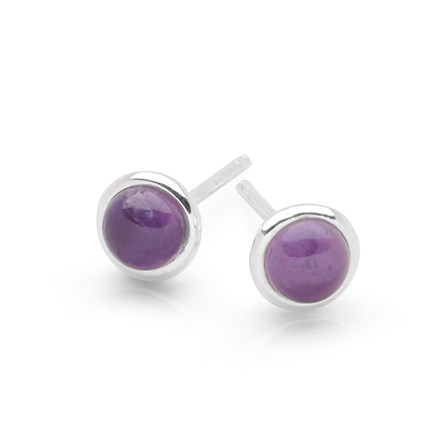 Amethyst Button Studs