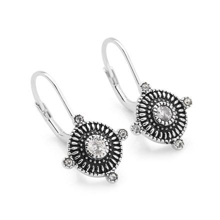 Zirconia Compass Earrings
