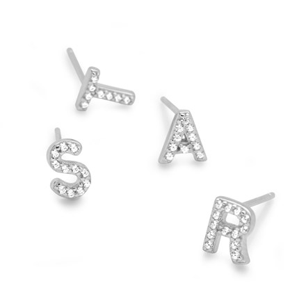Sparkling Initial Stud (Single Earring)