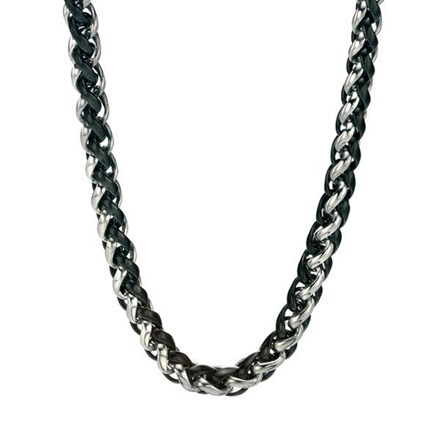 Black PVD and Steel Weave Necklace
