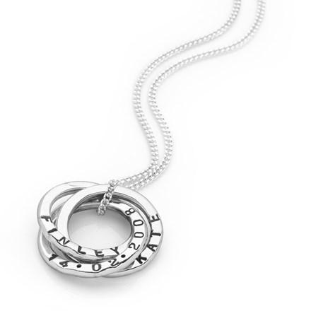 Personalised Medium Russian Rings Pendant