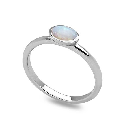 White Opalite Stack Ring