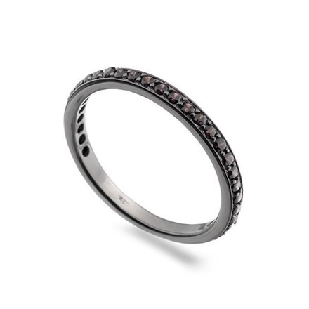 Black/Red Eternity Stack Ring