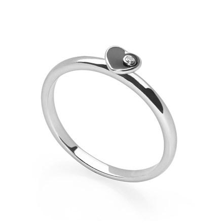 Black Heart Stack Ring