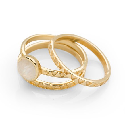 Sanctuary Stack Rings (Set of 3) Gold Plate