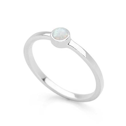 White Opal Dot Ring