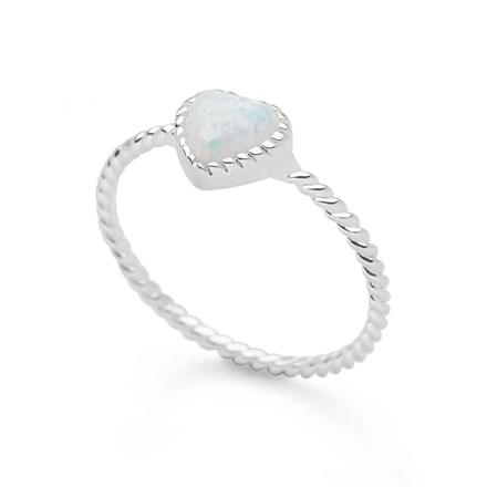White Opal Heart Ring