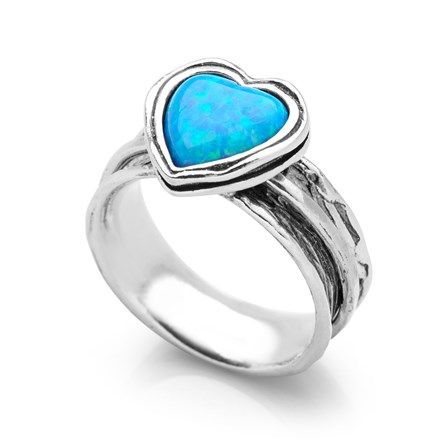 Opal Heart Spin Ring