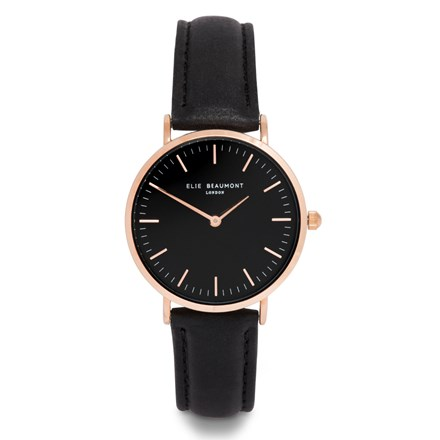 Elie Beaumont Oxford Large Black Nappa Watch