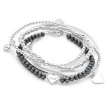 Love Heart Bracelet Stack (Black Pearl)