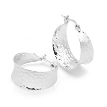 Wide Hammered Hoops