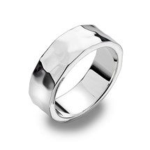 Hammered Flat Silver Band Ring