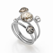 Miami Moon Rings (Set of 3) Rhodium Plated